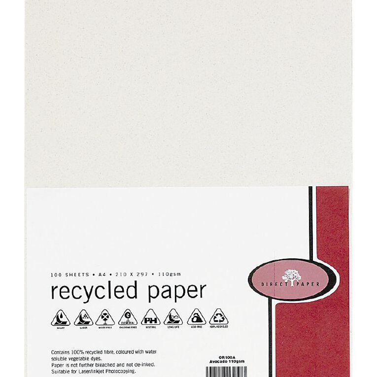 Direct Paper Recycled Paper 110gsm 100 Pack Avocado A4, , hi-res