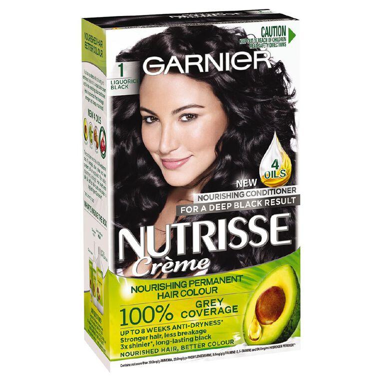 Garnier Nutrisse Permanent Creme Black Liquorice 1, , hi-res