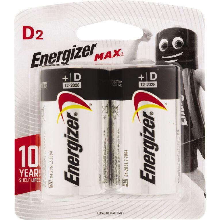 Energizer Max Alkaline Batteries D 2 Pack, , hi-res