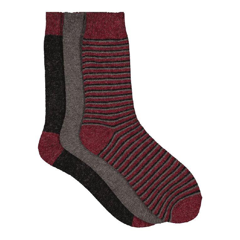 H&H Men's Home Socks 3 Pack, Red Dark, hi-res