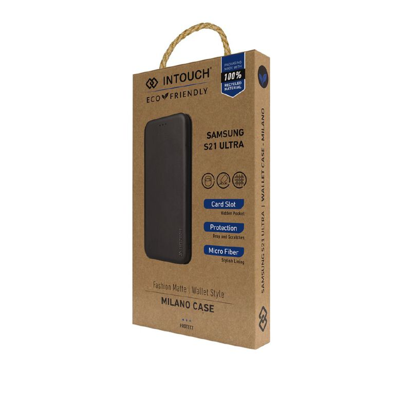 INTOUCH Samsung S21 Ultra Milano Wallet Case Black, , hi-res