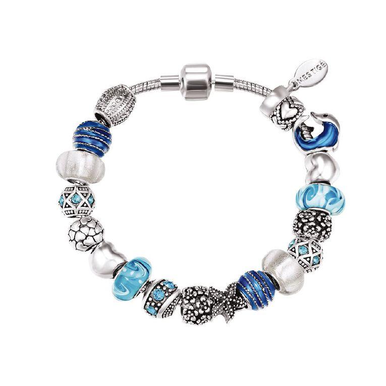 Mestige Silver Plated Blue Swarovski Crystal Ocean Bracelet, , hi-res