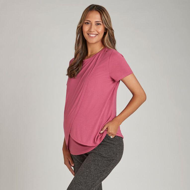 H&H Maternity Crossover Nursing Friendly Tee, Purple Dark, hi-res