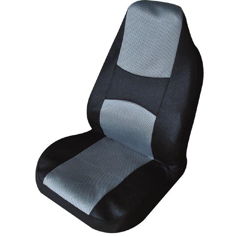 Mako Polyester Car Seat Cover Front 1 Pack Black/Grey, , hi-res