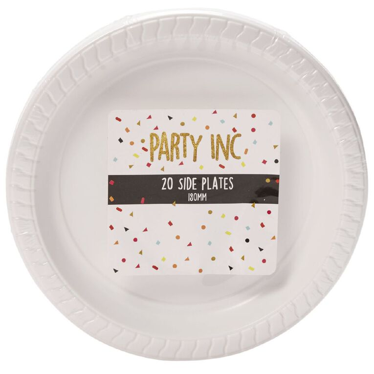 Party Inc Side Plates White 180mm 20 Pack, , hi-res