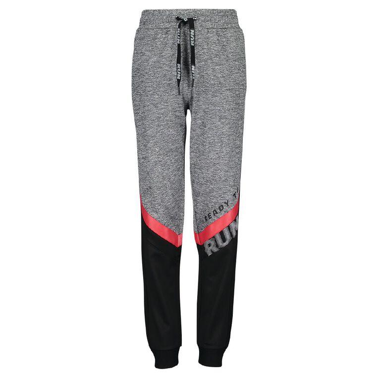 Active Intent Boy's Performance Colour Block Pants, Grey Mid, hi-res