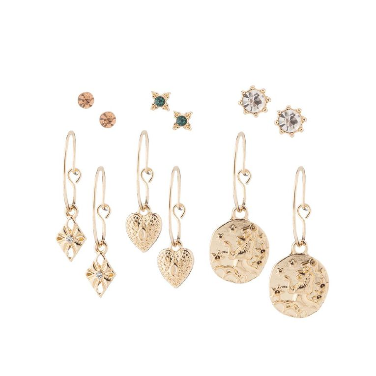 Diamante Heart Coin Gold Earring 6 Pairs, , hi-res