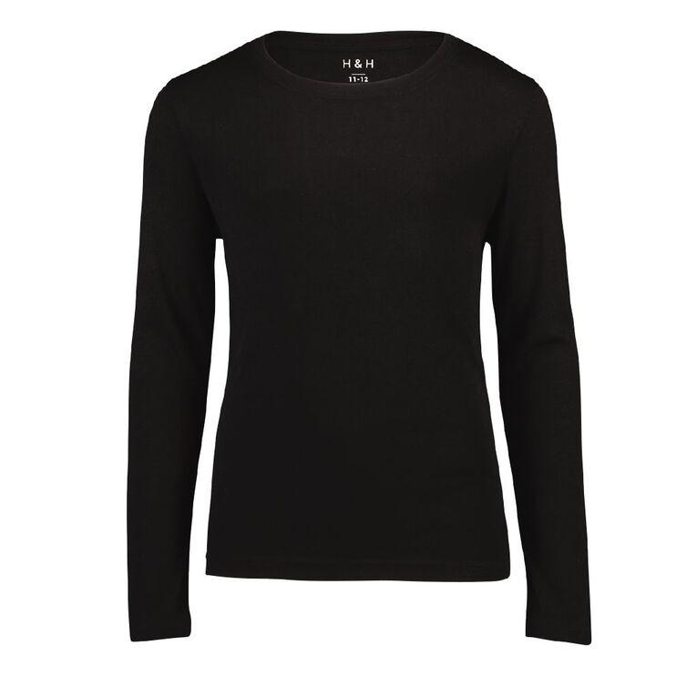 H&H Polyester Viscose Long Sleeve Thermal Top, Black, hi-res