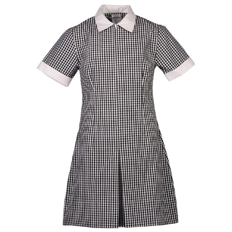 Schooltex Zip Gingham School Dress, Black/White, hi-res