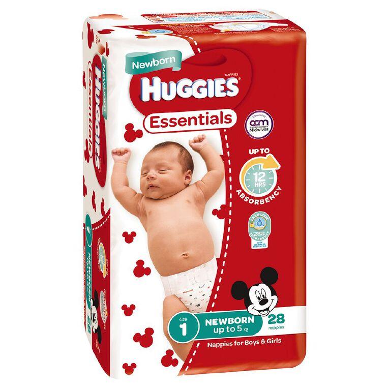 Huggies Essential Nappy Newborn 28 pack, , hi-res