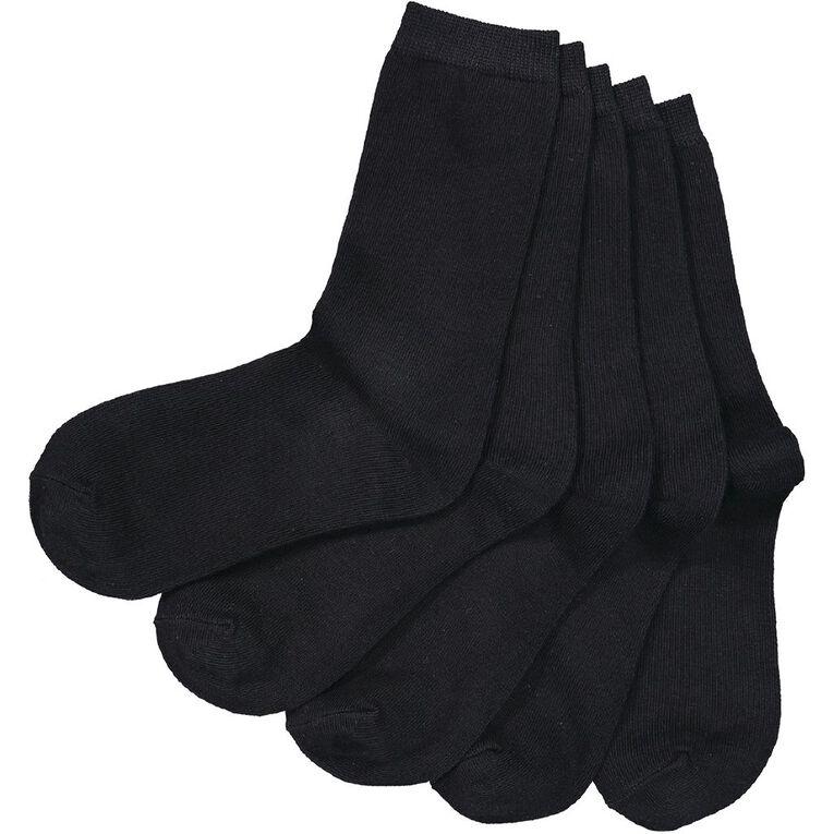H&H Crew Socks 5 Pack, Black, hi-res image number null