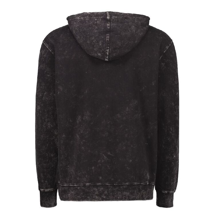 Garage Men's Hooded Acid Washed Sweatshirt, Black ACID WASH, hi-res