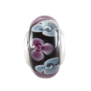 Ane Si Dora Sterling Silver Fancy Glass Pink & Blue Flower Charm