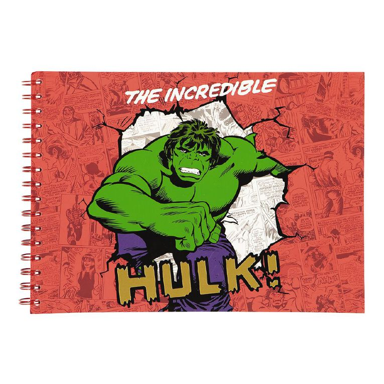 Marvel Kids Scketchpad The Incredible Hulk Red A4, , hi-res