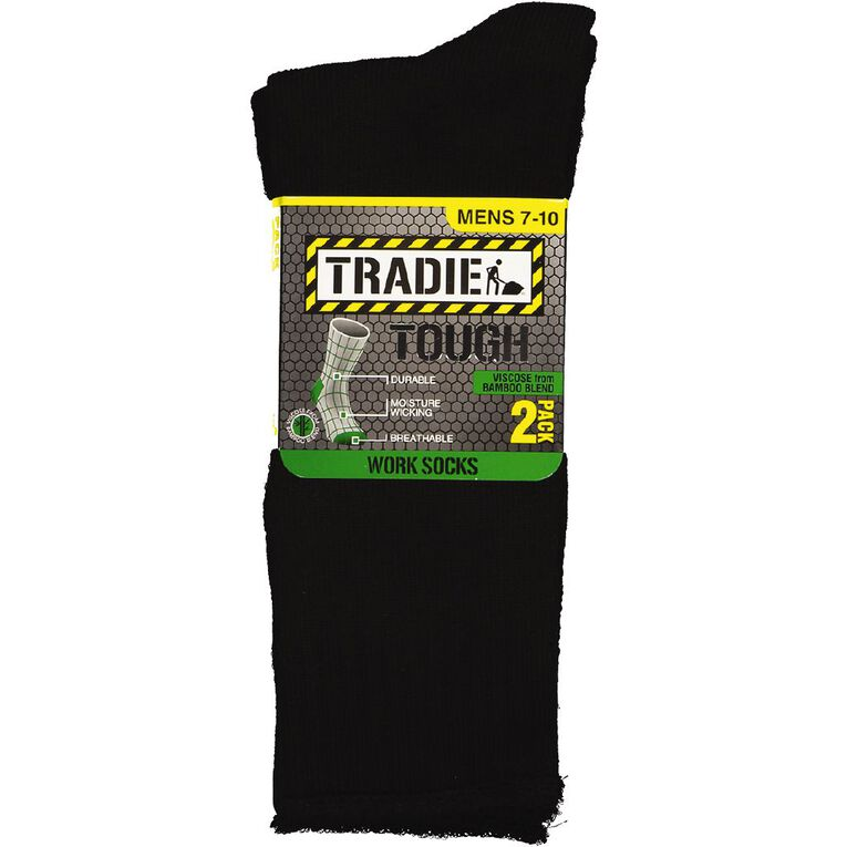 Tradie Men's Work Socks Bamboo 2 Pack, Black, hi-res