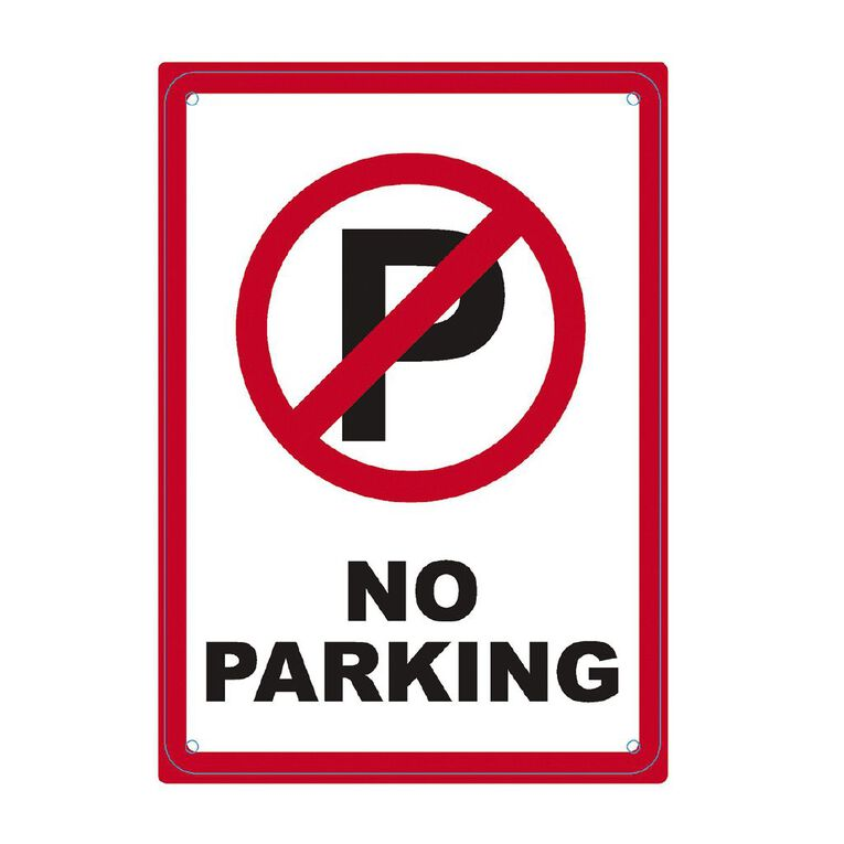 WS Safety Sign No Parking Red&Black Single 340mm x 240mm Small, , hi-res