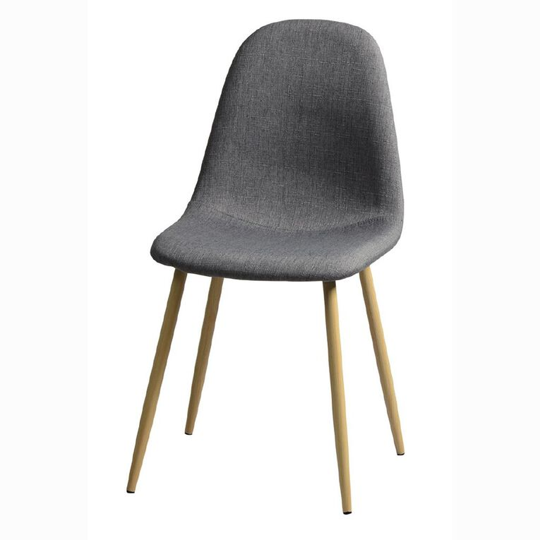 Living & Co Fabric Chair Grey Wood Look Legs, , hi-res