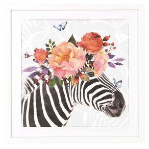 Living & Co Mixed Floral Zebra Framed Print 50 x 50 x 2cm