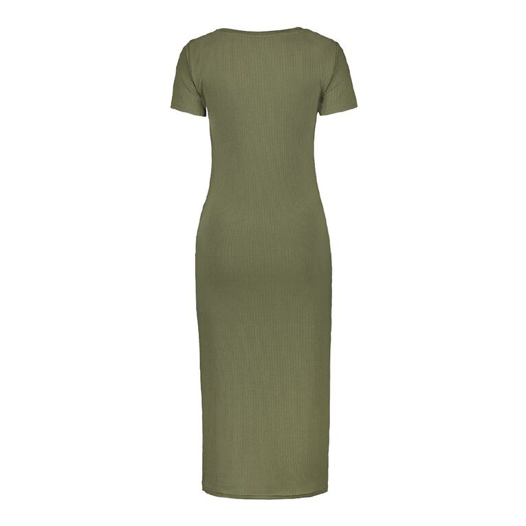 H&H Women's Rib Midi Dress, Green Mid, hi-res