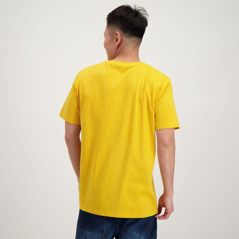 H&H Men's Crew Neck Slogan Printed Tee, Yellow Dark, hi-res