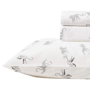 Living & Co Kids Sheet Set Cotton Rich Monkey White Single