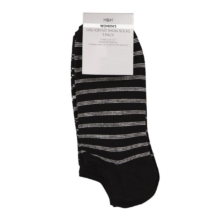 H&H Women's Patterned No Show Socks 5 Pack, Black, hi-res