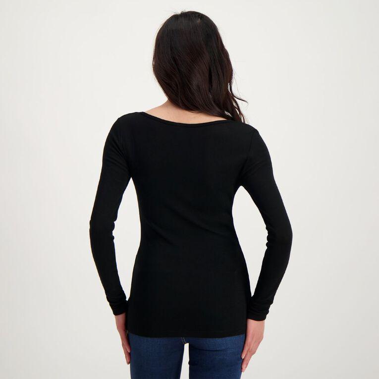H&H Women's Merino Long Sleeve Boat Neck Top, Black, hi-res
