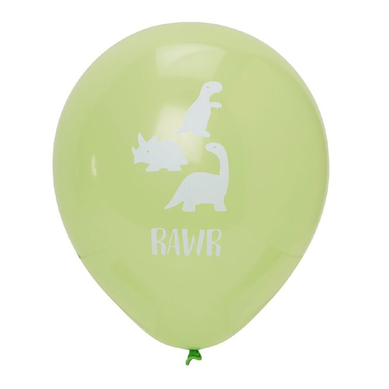 Party Inc Printed Balloons Rawr 25cm 12 Pack, , hi-res