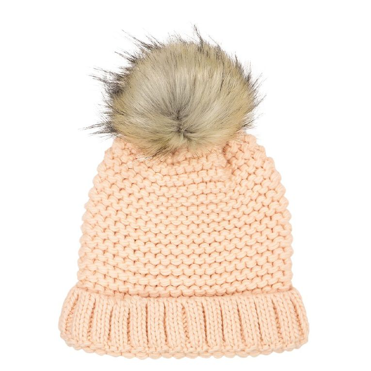 H&H Stitch Knit Pom Beanie, Pink, hi-res