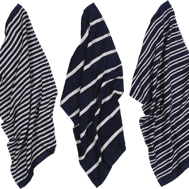 Living & Co Terry Stripe Tea Towel Set 3 Pack Navy 40cm x 65cm, , hi-res