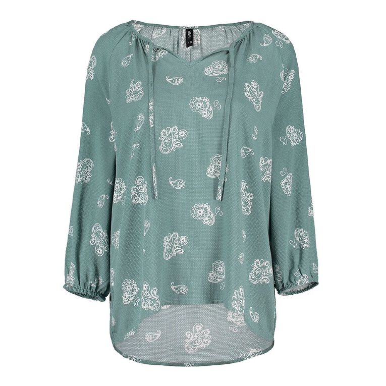 H&H Women's 3/4 Sleeve Print Blouse, Green Dark, hi-res