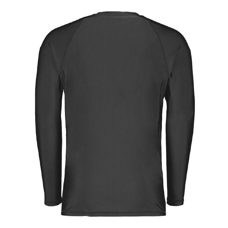 H&H Men's Long Sleeve Plain Rash Vest, Black, hi-res