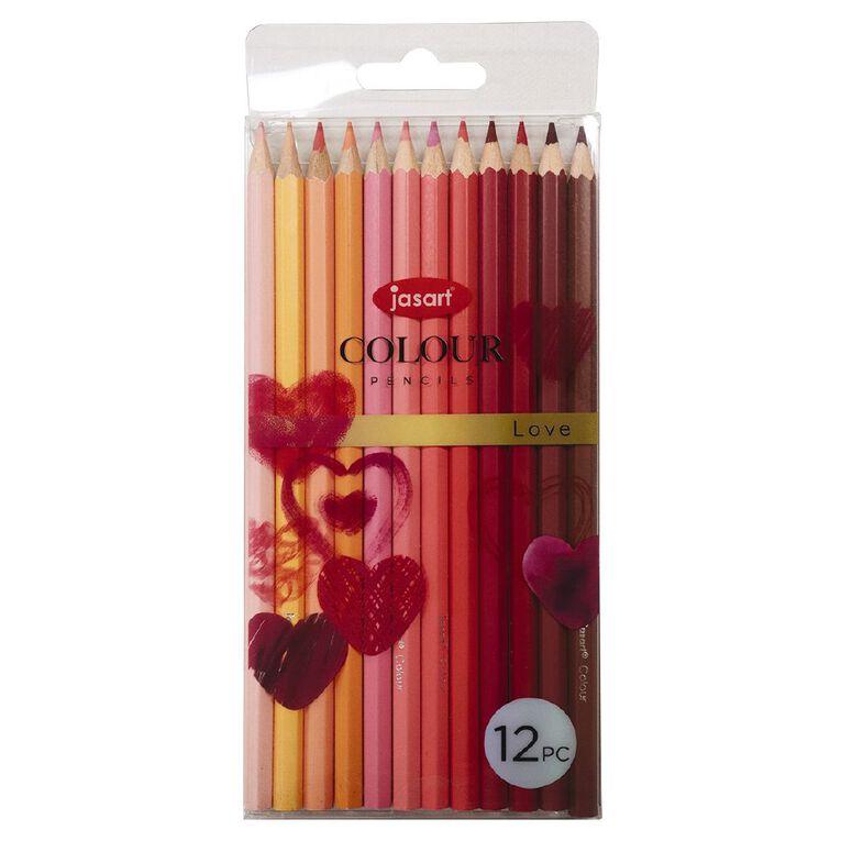 Jasart Studio Coloured Pencils Love 12 Pack, , hi-res