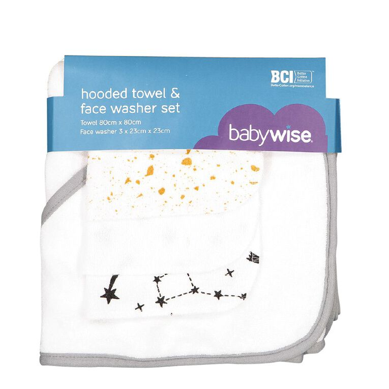 Babywise Hooded Towel And Face Washer Set, , hi-res