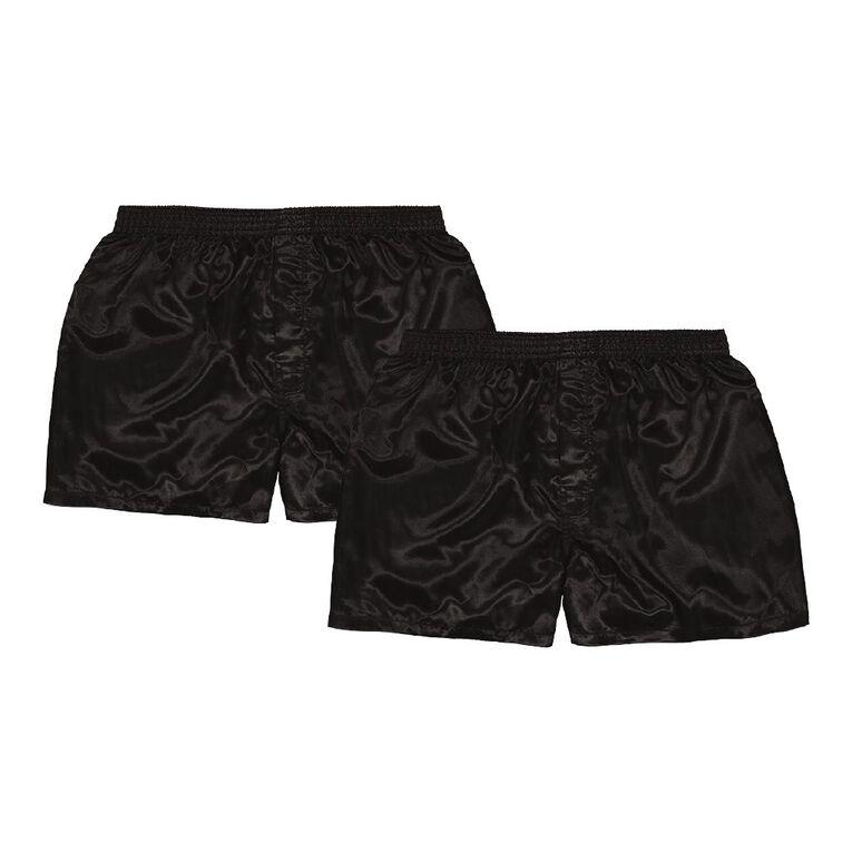 H&H Men's Satin Boxers 2 Pack, Black, hi-res
