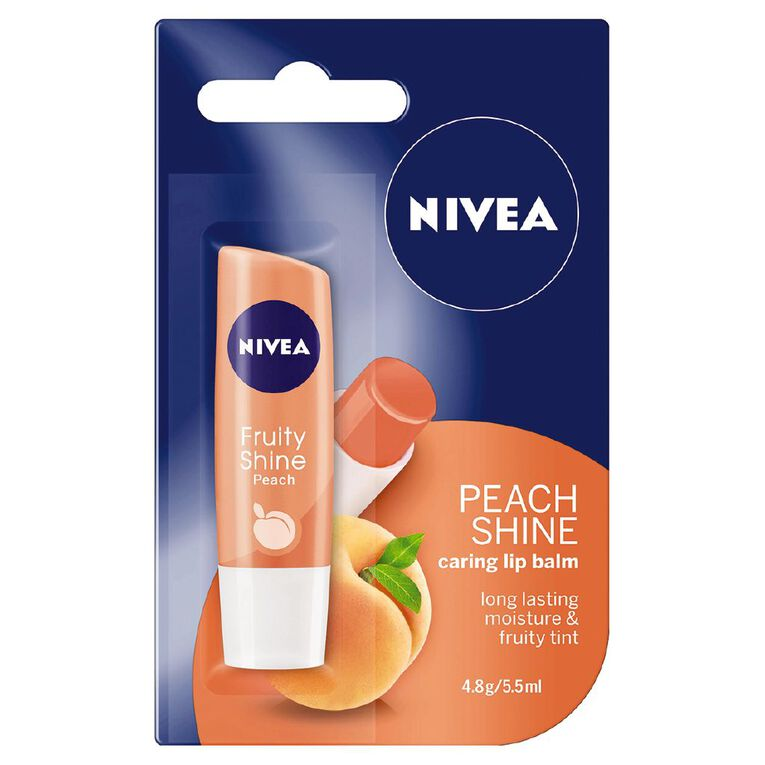 Nivea Care Peach Lip Balm 4.8g, , hi-res