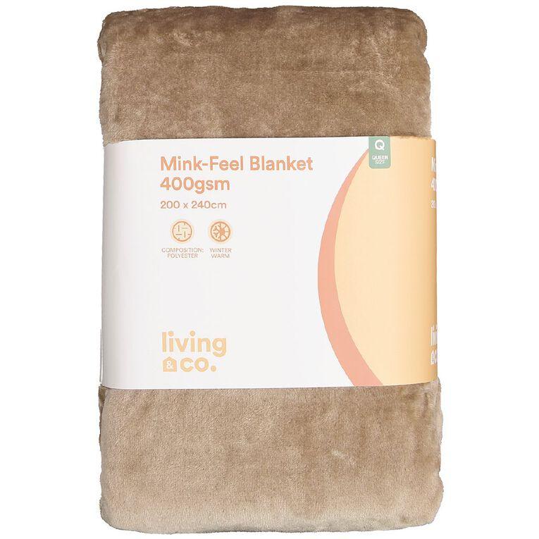 Living & Co Blanket Mink Feel 400gsm Chalk Queen, , hi-res image number null