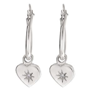 Sterling Silver CZ Heart Charm Hoop Earrings