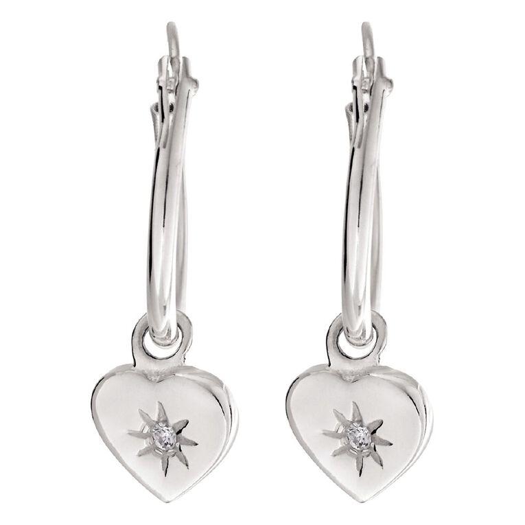 Sterling Silver CZ Heart Charm Hoop Earrings, , hi-res