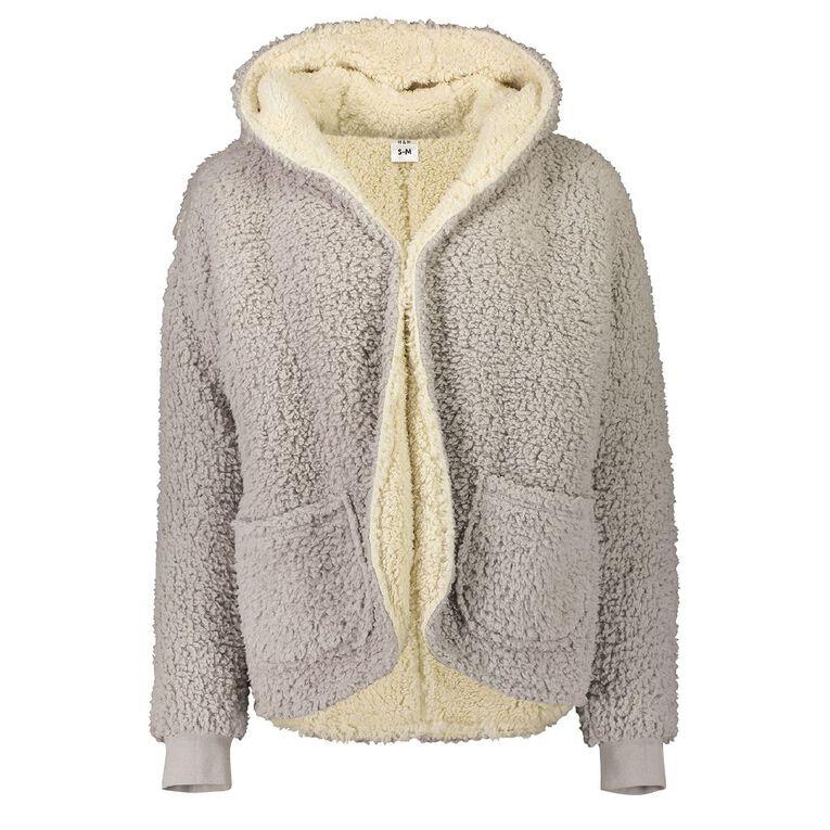 Love to Lounge Women's Sherpa Cardigan, Grey, hi-res
