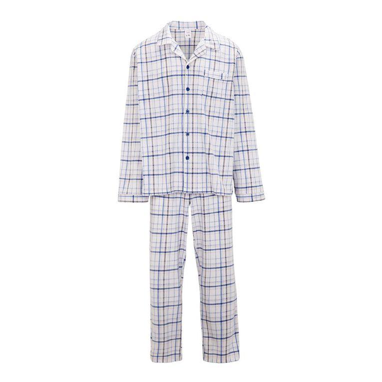 H&H Men's Fleece Pyjamas, Blue, hi-res