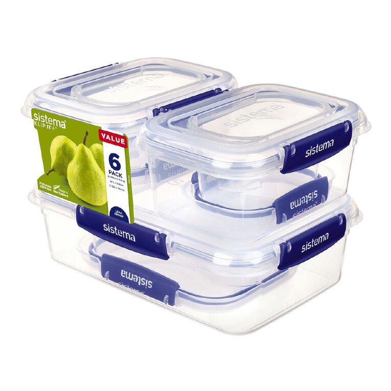 Sistema Plus Container Essentials Pack Clear 6 Pack, , hi-res