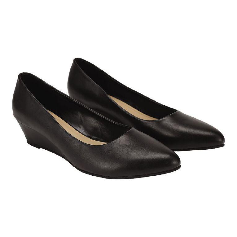 H&H Women's Low Wedge Dress Shoes, Black, hi-res