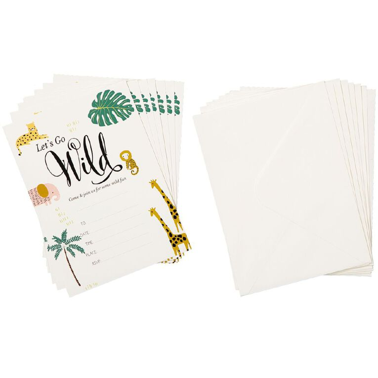 Party Inc Jungle Invitations with Envelopes 8 Pack, , hi-res