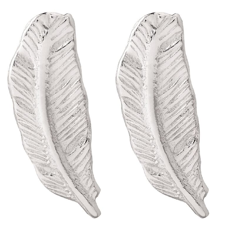 Sterling Silver Feather Stud Earrings, , hi-res