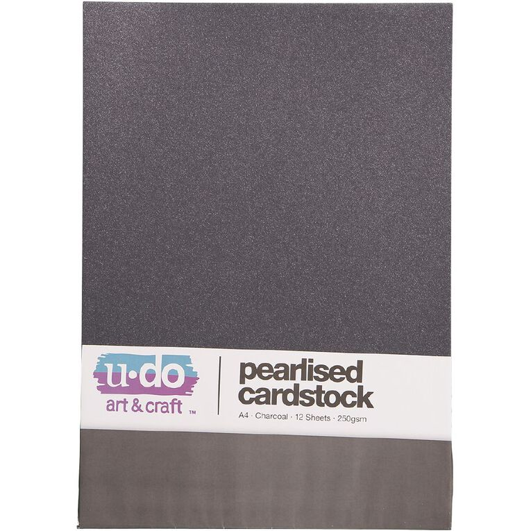 Uniti Value Cardstock Pearlized 250gsm 12 Sheets Charcoal A4, , hi-res