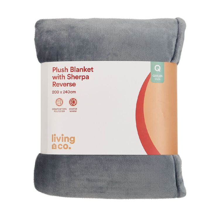 Living & Co Blanket Plush With Sherpa Reverse Quarry Grey Queen, , hi-res