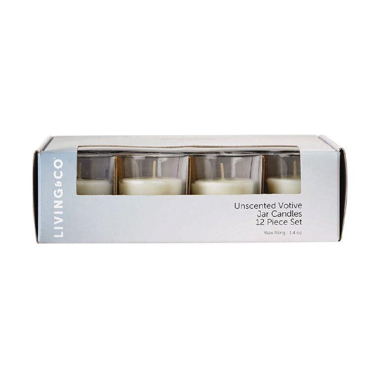 Living & Co Unscented Votive Jar Candles 1.4oz White 12 Pack, , hi-res