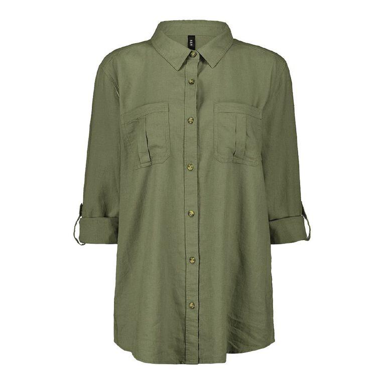 H&H Women's Linen Blend Utility Shirt, Green Mid, hi-res
