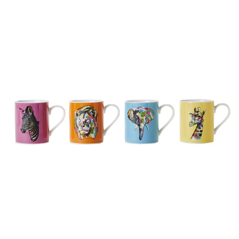 Living & Co Safari Animals Printed Mugs 4 Pack, , hi-res image number null